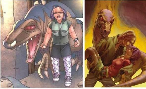 Gertrude y su dinosaurio (interior del comic y portada). ¿A quién le puede afectar las presiones estéticas si tienes un dinosaurio como mascota?